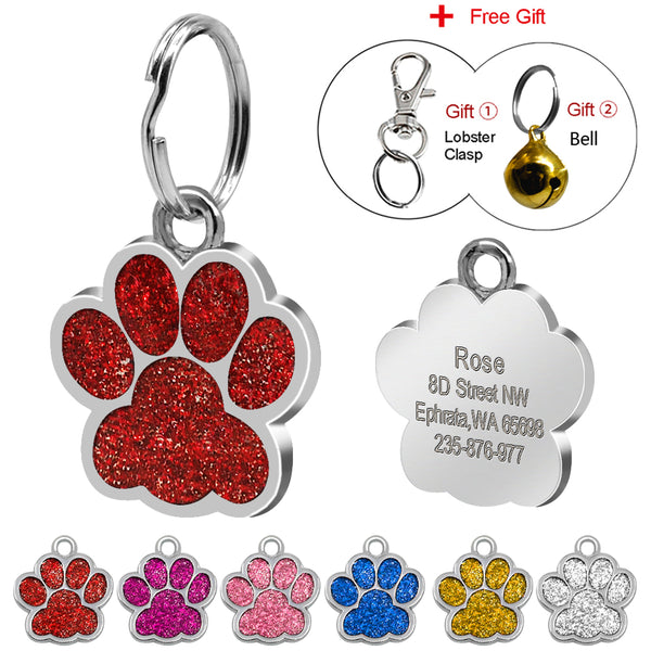 Glitter  Custom Pet Dog Tag Personalized Engraved Dogs Cat ID Tags Free Hook & Bell Pink Blue Silver Red Colors Paw Shape