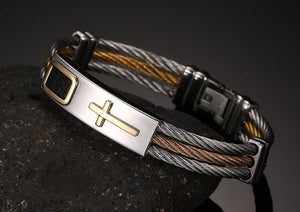 New Gold Jesus Cross Bracelet & Bangles Leather.