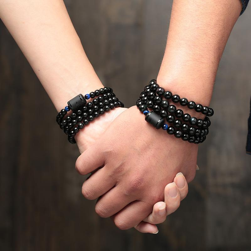 Black Rainbow Obsidian Natural Stone Bracelets Couple Multilayer Beads.