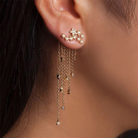 Star Streamlined Tassel Long Crystal Earrings.