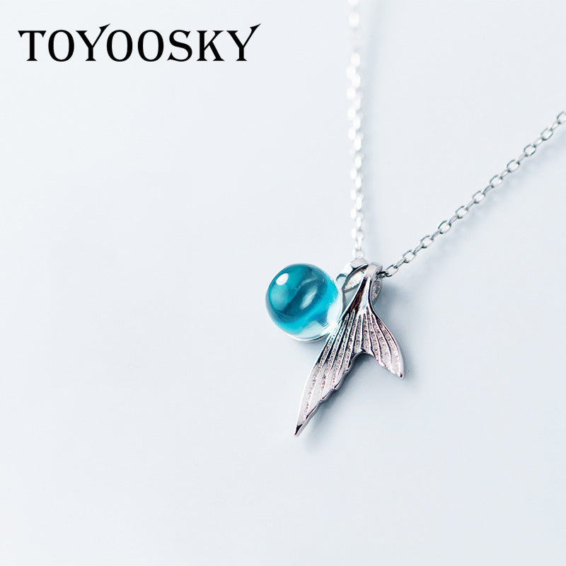 Mermaid Tail Necklace Sweet Blue Crystal Clavicle Chain Jewelry for Women