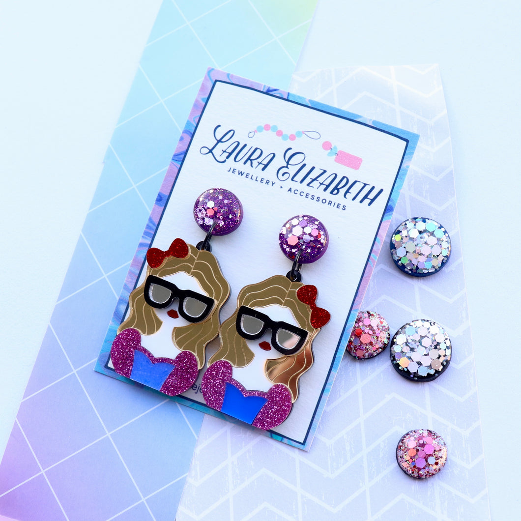 Classy lady - Polymer Clay, Resin and Acrylic Earrings