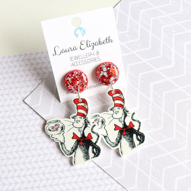 The Cat in the Hat COMES BACK - Polymer Clay, Resin and Acrylic Earrings