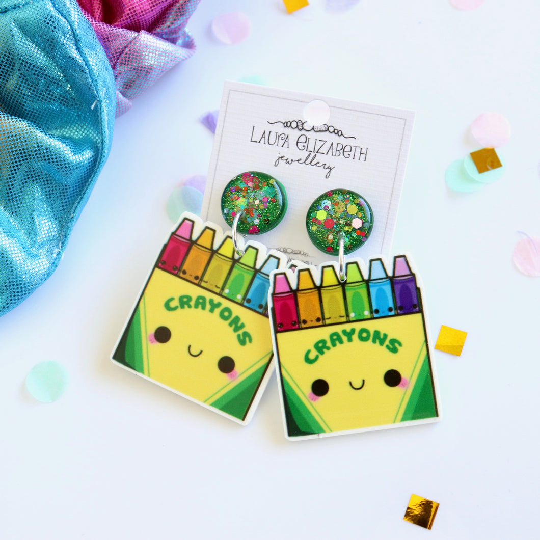 Crayons - Polymer Clay, Resin and Acrylic Earrings