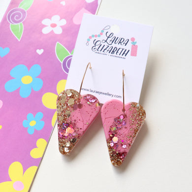 Glitter Resin Hoop Earrings