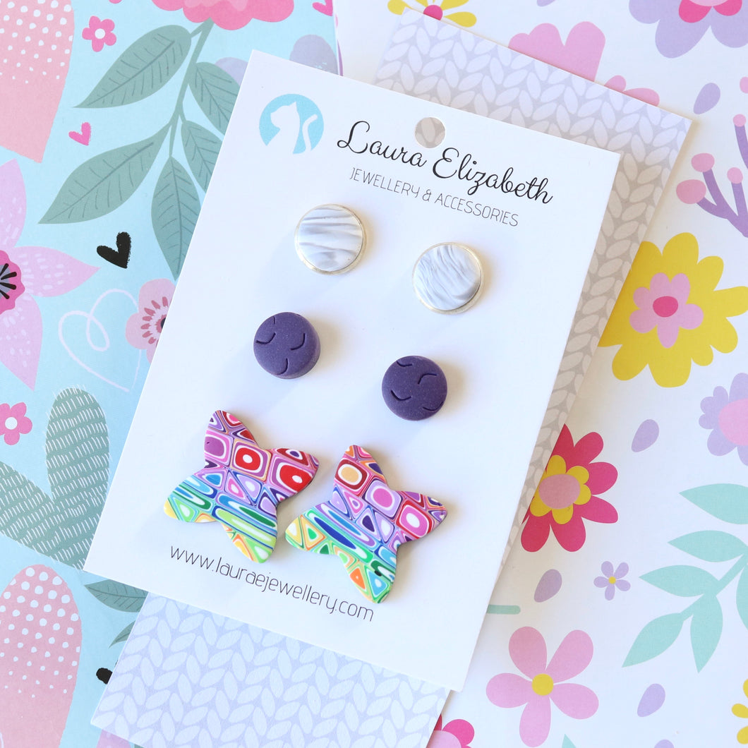Multi-pack of polymer clay earrings - 07