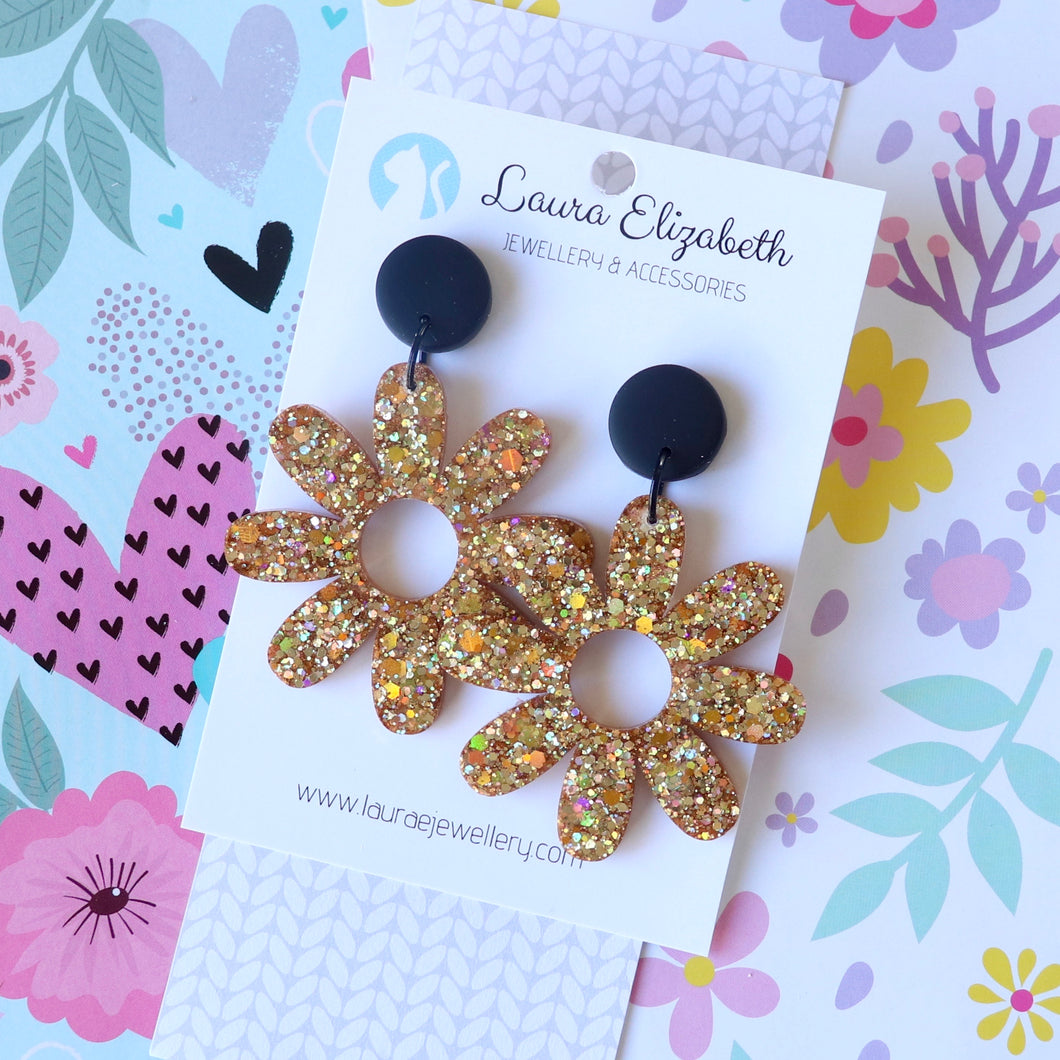 Glitter Retro Daisy Stud-top Earrings