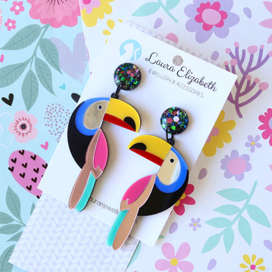 Toucans - Polymer Clay, Resin and Acrylic Earrings
