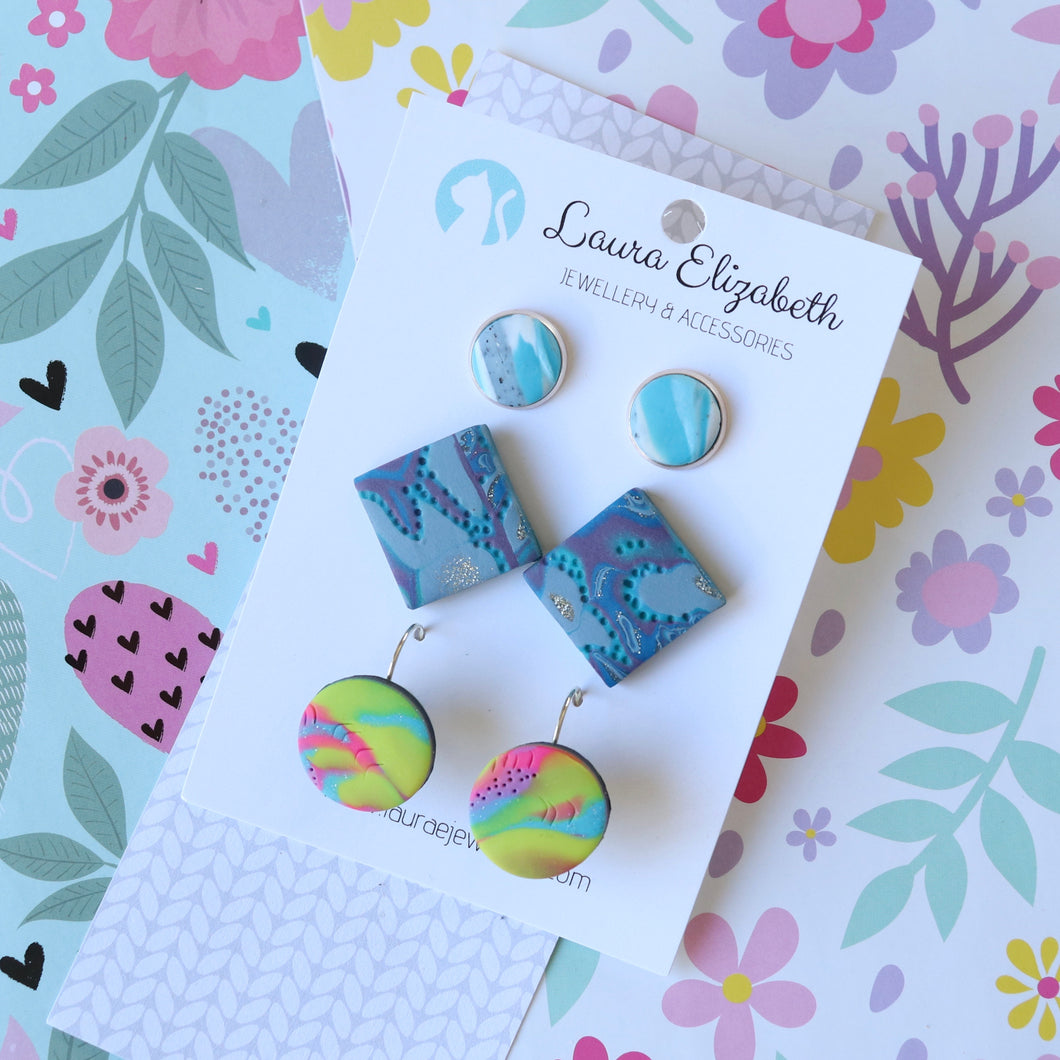 Multi-pack of polymer clay earrings - 37