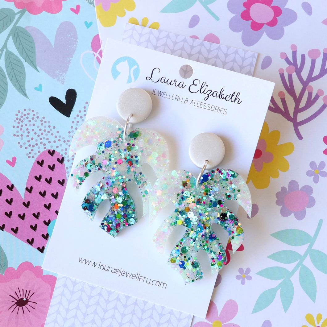 Glitter Monstera Stud-top Earrings