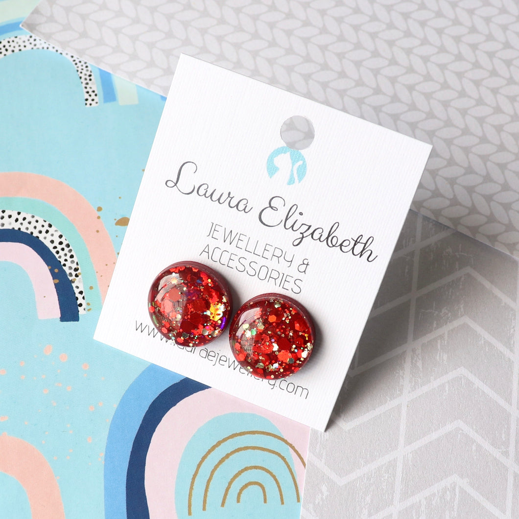 14mm Dots - Polymer Clay & Resin Sparkle studs