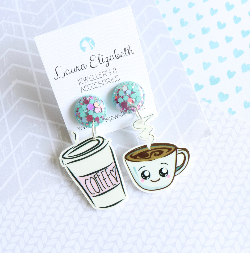 Coffee coffee - SNACK-A-LICIOUS Polymer Clay and Resin Earrings