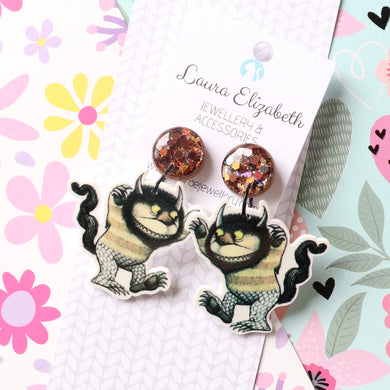 Where the Wild Things Are - Polymer Clay, Resin and Acrylic Earrings