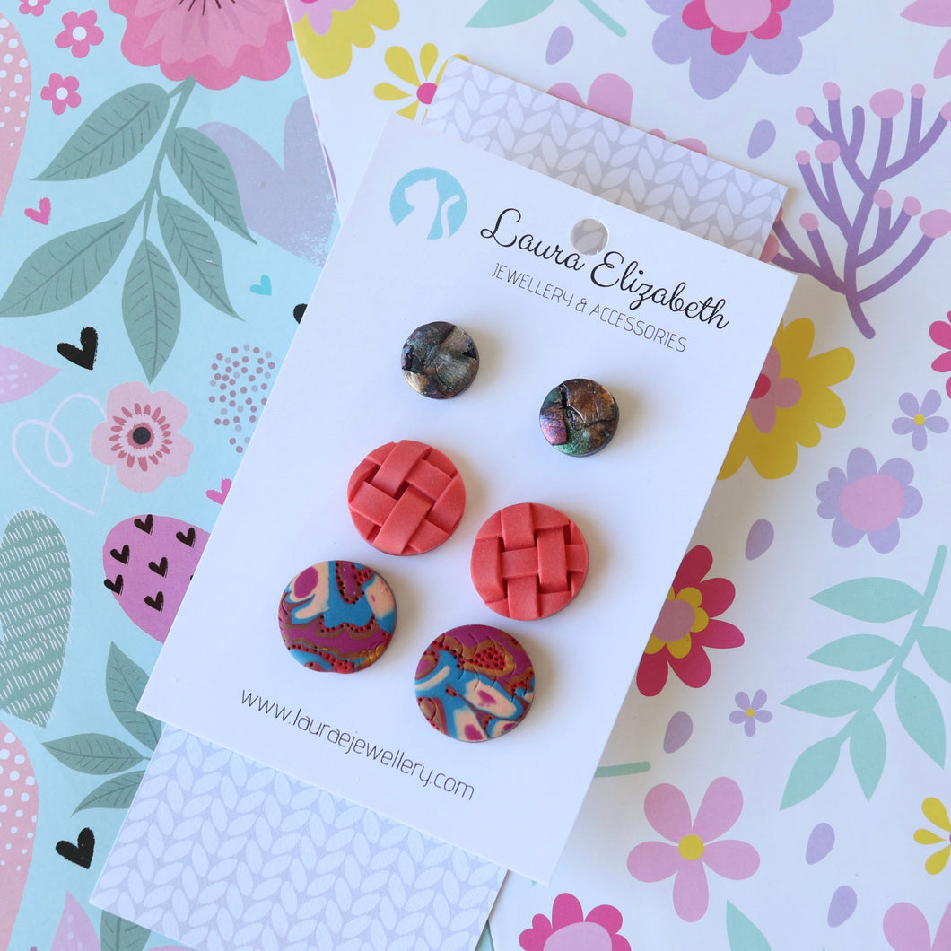 Multi-pack of polymer clay earrings - 02