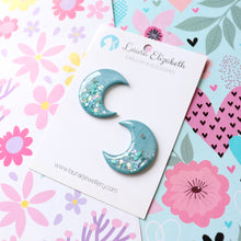 Lunar Moons - Eclipse - Polymer Clay & Resin Sparkle studs