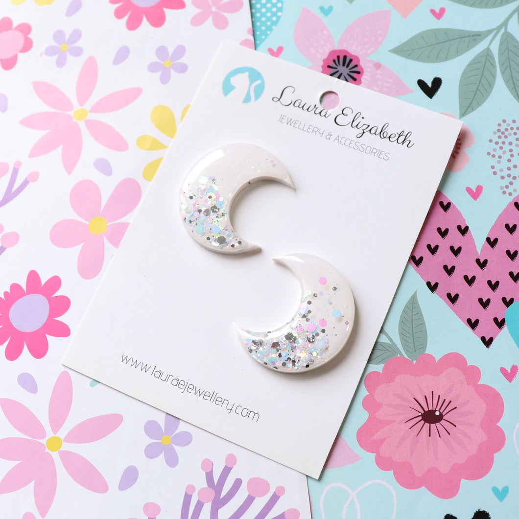 Lunar Moons - Bright - Polymer Clay & Resin Sparkle studs