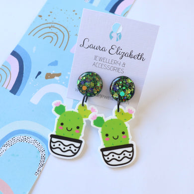 Happy Cactus 1 - Polymer Clay, Resin and Acrylic Earrings
