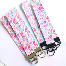 Leatherette Wristlet - key holder - florals