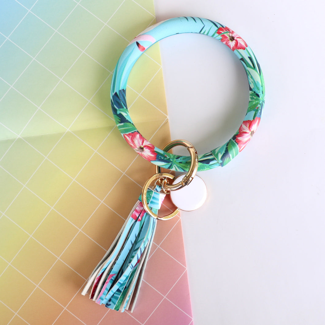 Leatherette hoop wrist key ring - Tropical