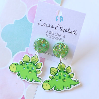 Steggie- baby Dinos - Polymer Clay, Resin and Acrylic Earrings