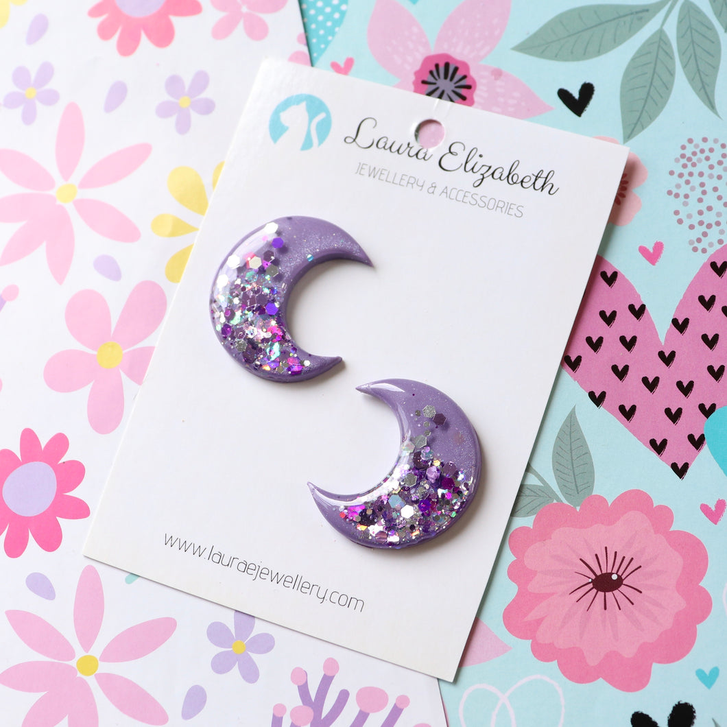 Lunar Moons - Twilight - Polymer Clay & Resin Sparkle studs
