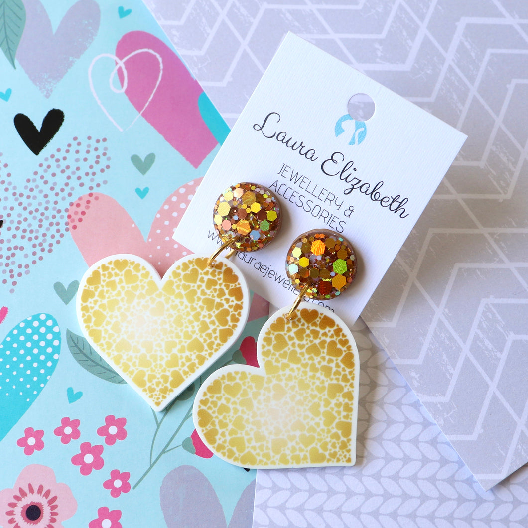 Hearts - Polymer Clay, Resin and Acrylic Earrings