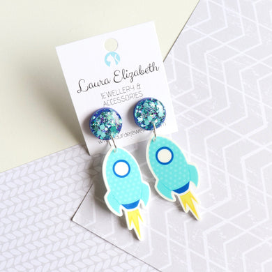 Lift off! - Polymer Clay and Resin Earrings