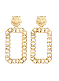 Braided Tiger Earrings: Gold