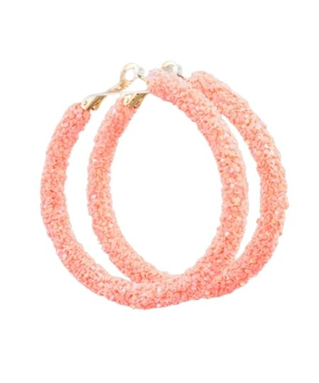 All the Glitter Hoops Peach