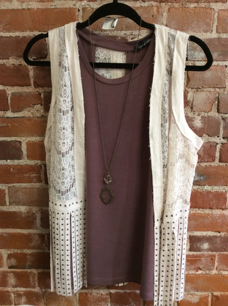 Natural Suede lace fringe vest