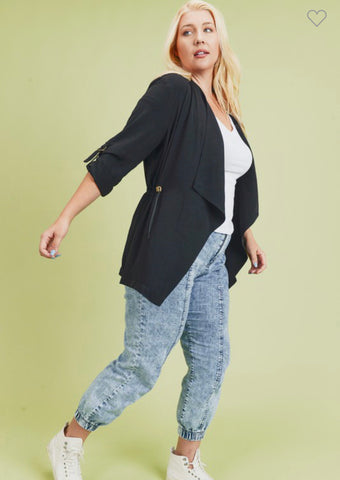 Curvy flowy jacket w/ roll up sleeve