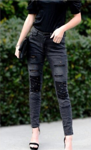 Eyelet knee patch distressed denim