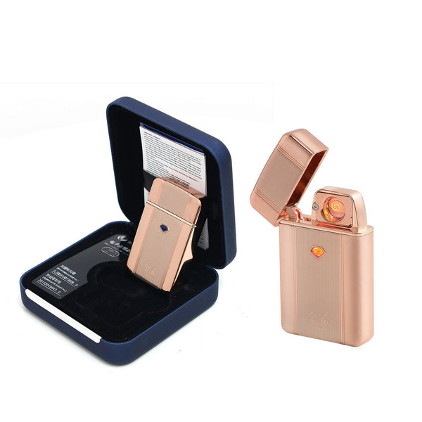 Electric Lighter Fanah Advanced USB Electronic Rechargeable Cigarette Lighter with Charger Cable Gift Electric Lighter Windproof Long Life Built-in lithium Battery - Golden