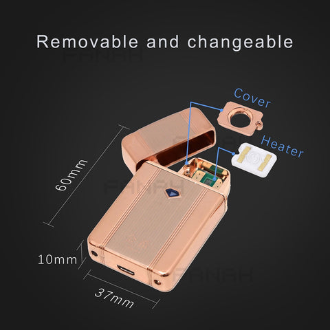 Advanced Rechargeable Electric Lighter Windproof with USB Charger Cable Built-in lithium Battery-Rose Gold