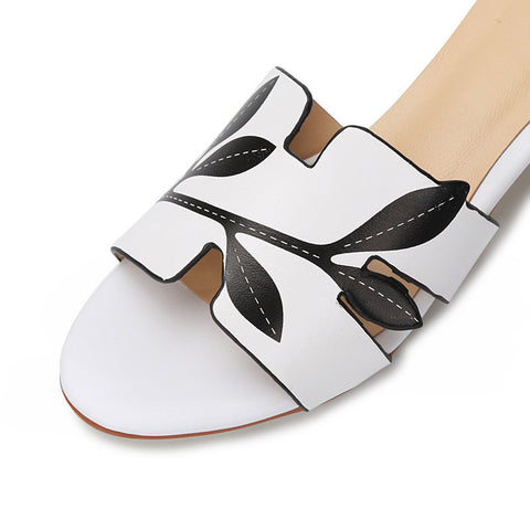 Fanah 2018 Fashion Woman Sandal Slipper Summer Shoes Leather Quality FNS1803008
