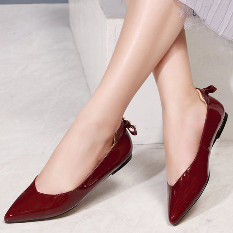 Fanah 2018 Fashion Woman Shoes Mules Rivet Bowknot Leather Korean Style Low Heel FNS1803002