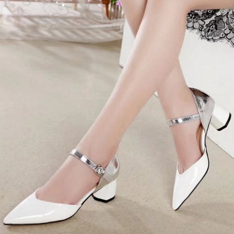 Fanah 2018 Woman Shoes Leather Point Shoes Commute Office Sandal Summer Korean Style FNS1803003