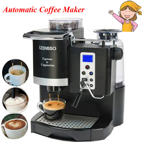FANAH Automatic Espresso Coffee Maker Machine with Grind Bean and Froth Milk Home Coffee Shop SN-3035