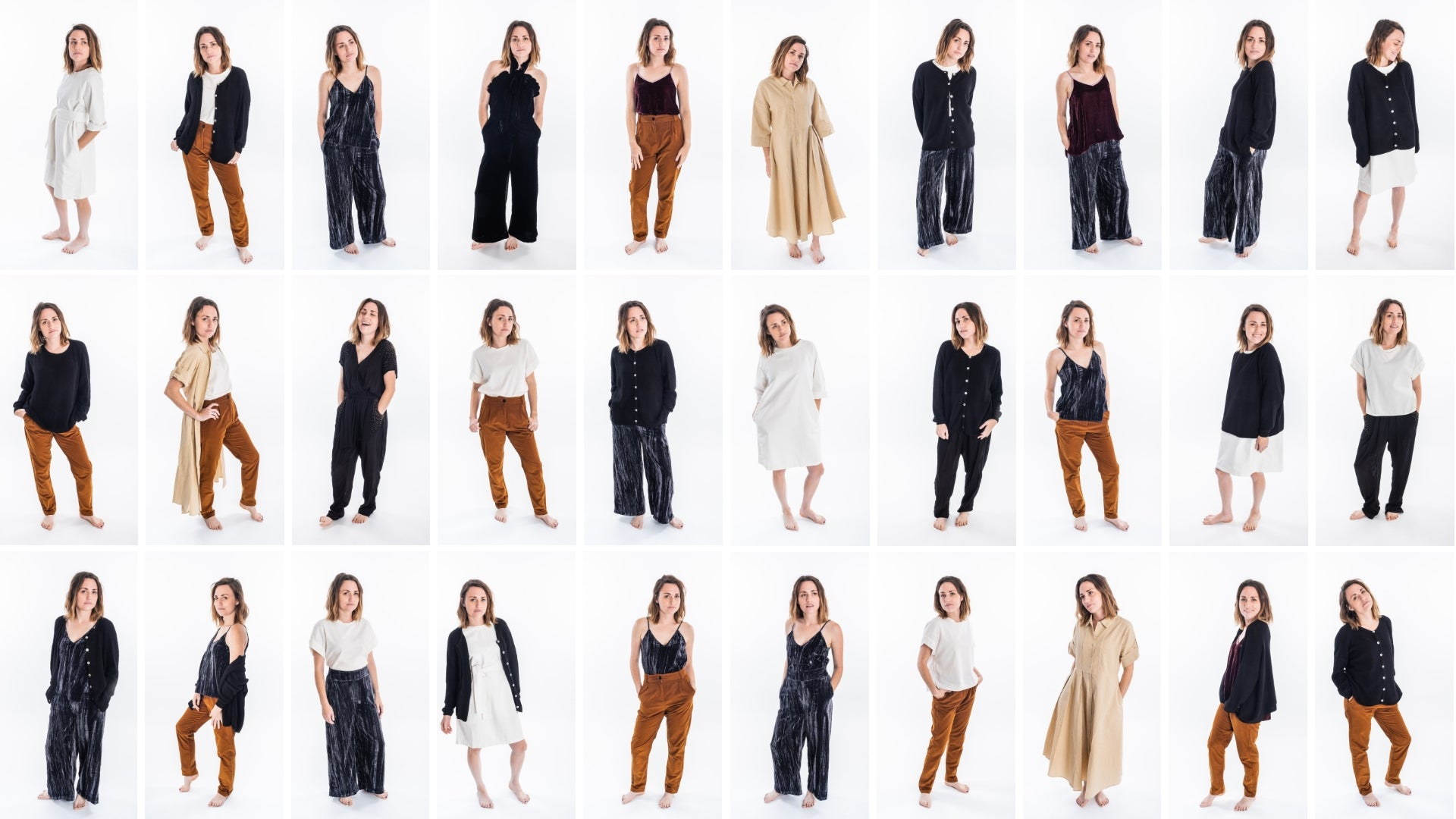 Shop the pre-made Festive Capsule wardrobe, perfect for a minimalist Holiday.