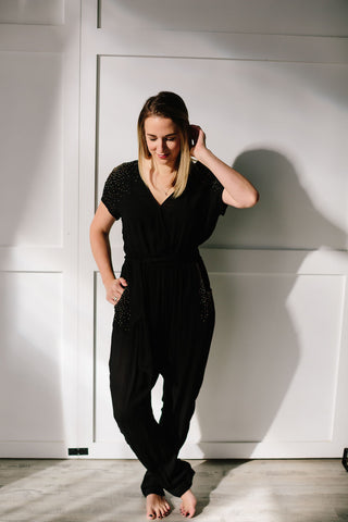 Symbology Beaded Wrap Jumper | Women's Black Jumpsuit