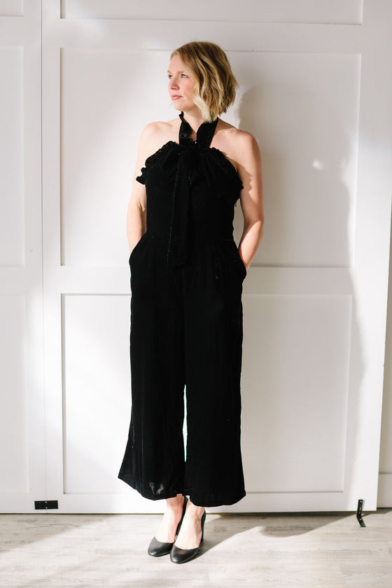 Kristinit - Arabesque Jumpsuit - Black Velvet - Joon + Co. Capsule Wardrobe
