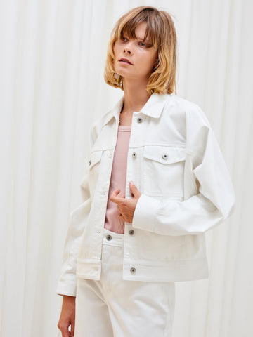 Kowtow Formation Jacket Ecru Denim | Women's White Denim Jackets