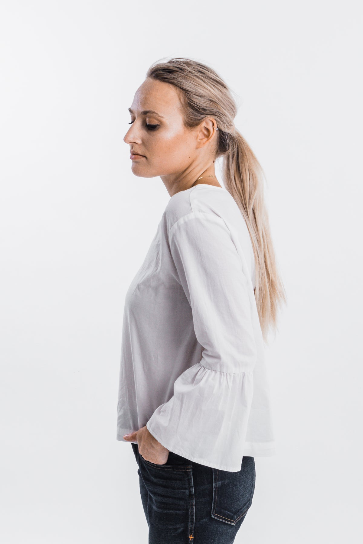 It Is Well L.A. - Bell Sleeve Blouse - White | Joon + Co. Women's Tops