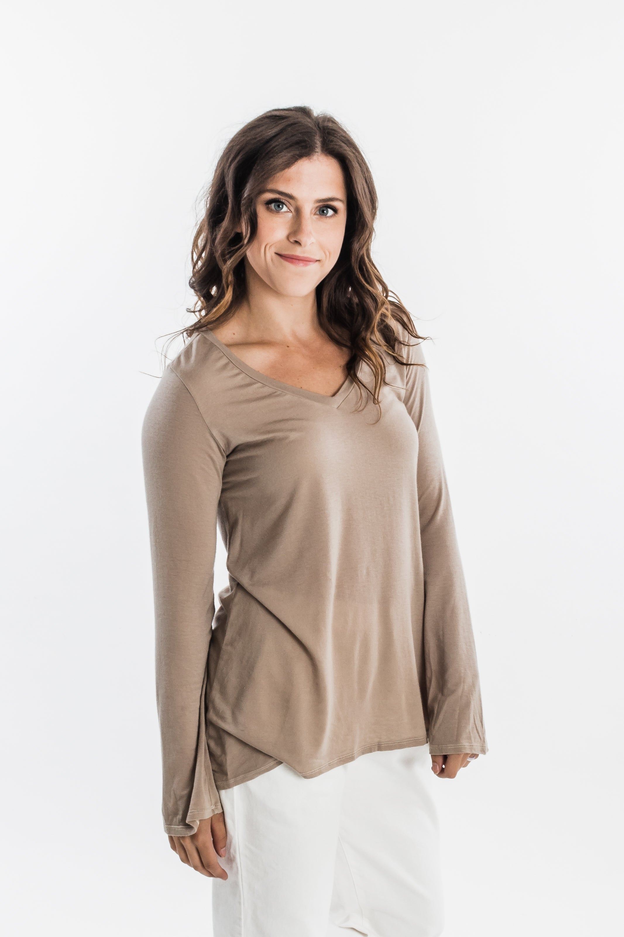 Groceries Apparel Tulum Top Clay | Women's Bell Sleeve Tops
