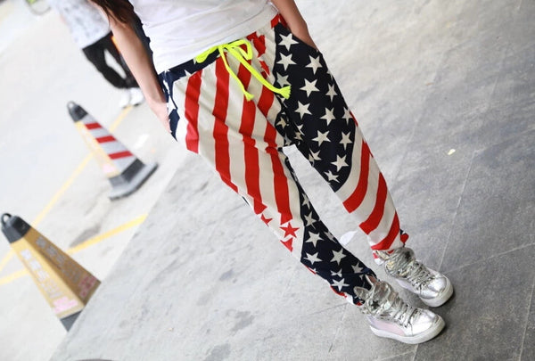 New Jazz harem women hip hop pants dance American Flag Star Custom Pocket Trousers loose Casual Big Size  sweatpants