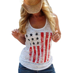 Summer Style Sleeveless Vest Tops American USA Flag Print Tops T Shirts