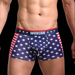 Fashion Brand American Flag Cotton Elastic Men's Underwear Boxers