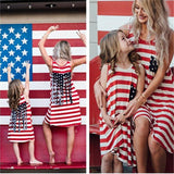 Parent-child Outfit Mom And Daughter Dresses O-neck Stripes Pocket Summer Beach Dress