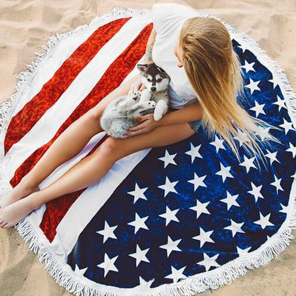 Large Round American Flag Beach Towel With Tassels. Can also be used as a yoga mat.