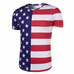 Fashion Men's Clothing American flag Five pointed star stripes print short sleeved t shirt men